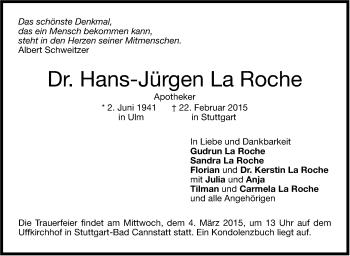 Zur Gedenkseite von Hans-Jürgen La Roche