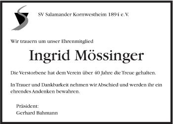 Zur Gedenkseite von Ingrid Mössinger