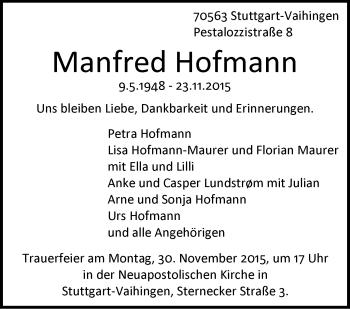 Zur Gedenkseite von Manfred Hofmann
