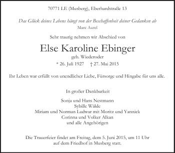 Zur Gedenkseite von Else Karoline Ebinger