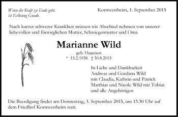 Zur Gedenkseite von Marianne Wild