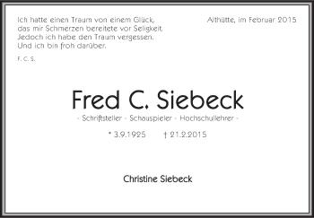 Zur Gedenkseite von Fred C. Siebeck