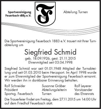 Zur Gedenkseite von Siegfried Schmid