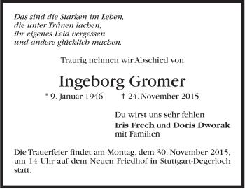 Zur Gedenkseite von Ingeborg Gromer