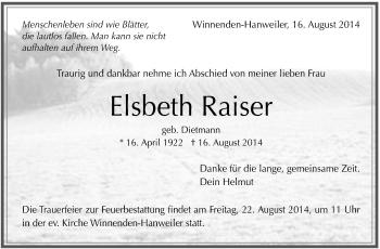 Zur Gedenkseite von Elsbeth Raiser