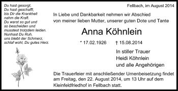 Zur Gedenkseite von Anna Köhnlein