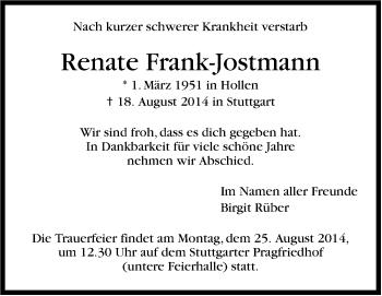 Zur Gedenkseite von Renate Frank-Jostmann