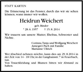 Zur Gedenkseite von Heidrun Weichert