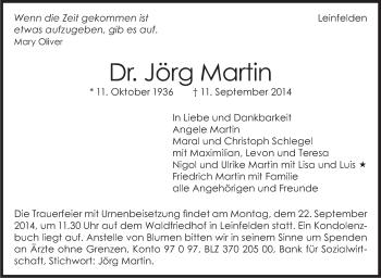 Zur Gedenkseite von Jörg Martin