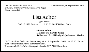 Zur Gedenkseite von Lisa Acher