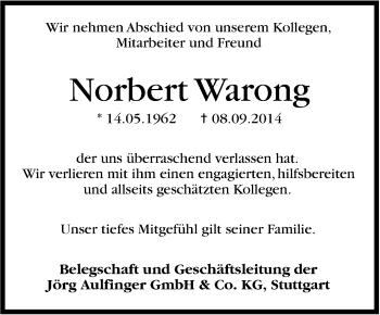 Zur Gedenkseite von Norbert Warong
