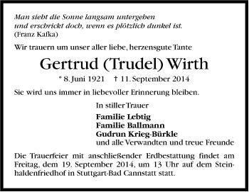Zur Gedenkseite von Gertrud Wirth