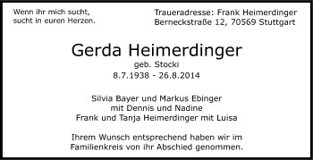 Zur Gedenkseite von Gerda Heimerdinger