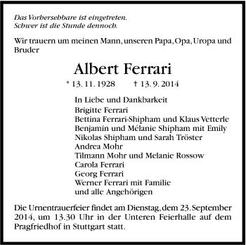 Zur Gedenkseite von Albert Ferrari