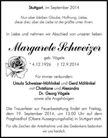 Zur Gedenkseite von Margarete Schweizer