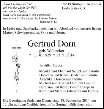Zur Gedenkseite von Gertrud Dorn