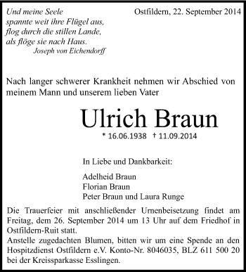 Zur Gedenkseite von Ulrich Braun