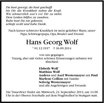 Zur Gedenkseite von Hans Georg Wolf