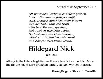 Zur Gedenkseite von Hildegard Nick