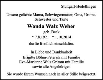 Zur Gedenkseite von Wanda Walz