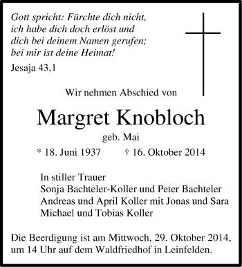 Zur Gedenkseite von Margret Knobloch