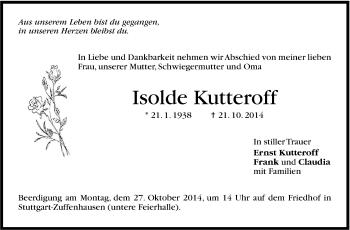 Zur Gedenkseite von Isolde Kutteroff