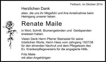 Zur Gedenkseite von Renate Maile