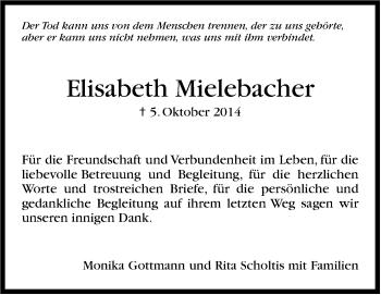 Zur Gedenkseite von Elisabeth Mielebacher