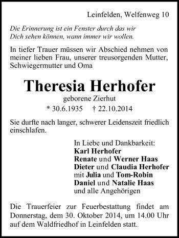 Zur Gedenkseite von Theresia Herhofer