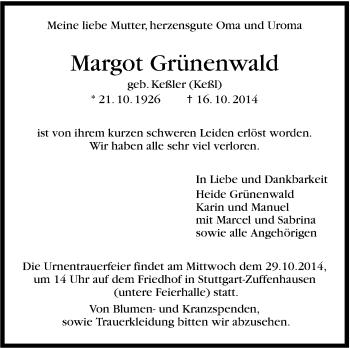 Zur Gedenkseite von Margot Grünenwald