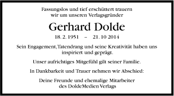 Zur Gedenkseite von Gerhard Dolde