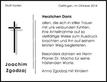 Zur Gedenkseite von Joachim Zgodzaj