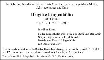 Zur Gedenkseite von Brigitte Lingenhölin