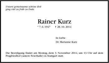 Zur Gedenkseite von Rainer Kurz