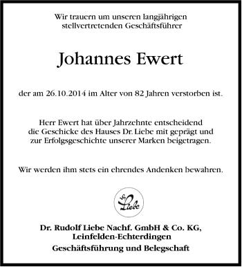Zur Gedenkseite von Johannes Ewert