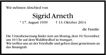 Zur Gedenkseite von Sigrid Arneth