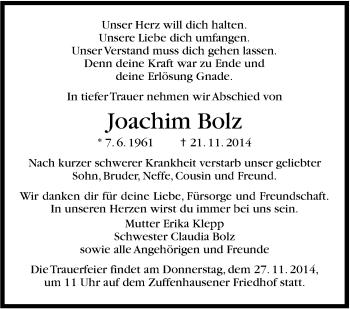 Zur Gedenkseite von Joachim Bolz