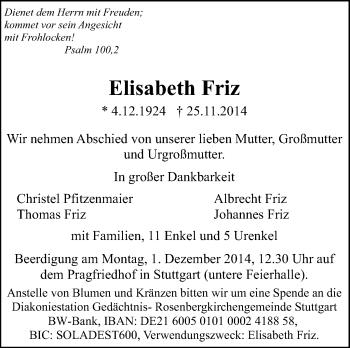 Zur Gedenkseite von Elisabeth Friz