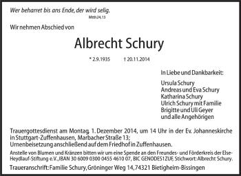 Zur Gedenkseite von Albrecht Schury