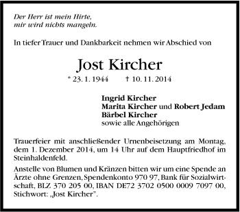 Zur Gedenkseite von Jost Kircher