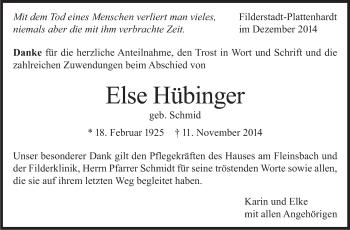 Zur Gedenkseite von Else Hübinger