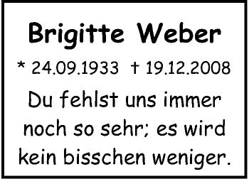 Zur Gedenkseite von Brigitte  Weber