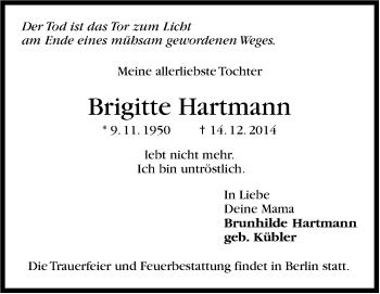 Zur Gedenkseite von Brigitte Hartmann