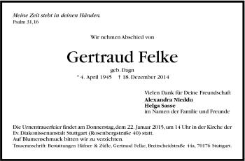 Zur Gedenkseite von Gertraud Felke