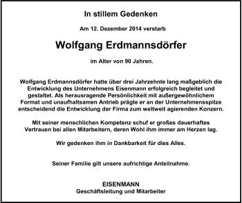 Zur Gedenkseite von Wolfgang Erdmannsdörfer
