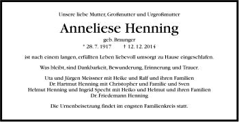 Zur Gedenkseite von Anneliese Henning