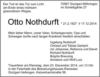 Zur Gedenkseite von Otto Nothdurft