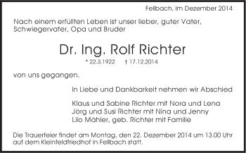 Zur Gedenkseite von Rolf Richter