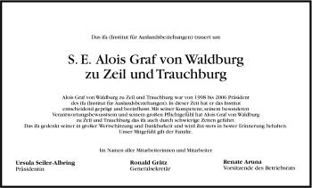 Zur Gedenkseite von Alois Graf von Waldburg zu Zeil und Trauchburg