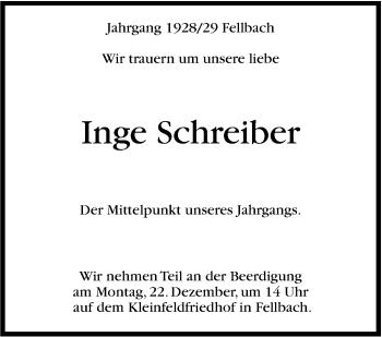 Zur Gedenkseite von Inge Schreiber